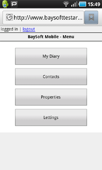 Accessing the mobile lettings module
